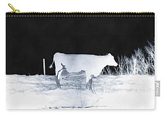 Carry-all Pouch featuring the photograph Winter Cow - Cow by Janine Riley