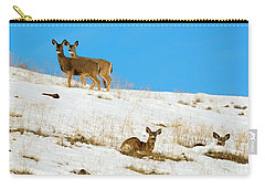 Carry-all Pouch featuring the photograph Winter Deer by Mike Dawson