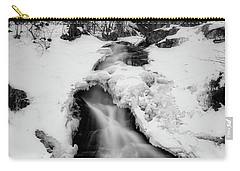 Carry-all Pouch featuring the photograph Winter Falls With Sun by Alan Raasch
