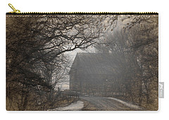 Winter Foggy Countryside Road And Barn Carry-all Pouch