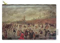 Carry-all Pouch featuring the photograph Winter Fun Painting By Barend Avercamp by Patricia Hofmeester