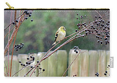 Winter Goldfinch In The Rain Carry-all Pouch