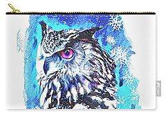 Winter Great Horned Owl  Carry-all Pouch