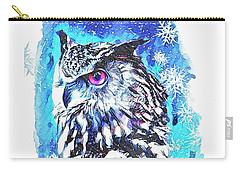 Cute Screech Owl Winter Artwork Carry-all Pouch