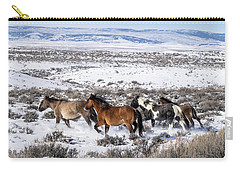 Winter In Sand Wash Basin - Wild Mustangs On The Run Carry-all Pouch