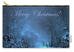 Winter Landscape Blue Christmas Card Carry-all Pouch