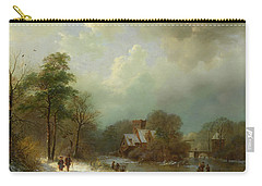 Carry-all Pouch featuring the painting Winter Landscape - Holland by Barend Koekkoek