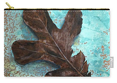 Winter Leaf Carry-all Pouch by T Fry-Green