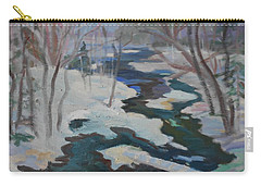 Carry-all Pouch featuring the painting Winter Mill Stream  by Francine Frank