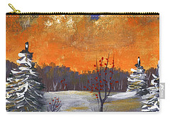 Carry-all Pouch featuring the painting Winter Nightfall #1 by Anastasiya Malakhova