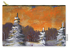 Carry-all Pouch featuring the painting Winter Nightfall #2 by Anastasiya Malakhova