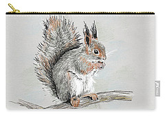 Winter Red Squirrel Carry-all Pouch