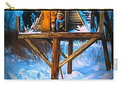 Winter Scene Three Kids And Dog Playing In A Treehouse Carry-all Pouch