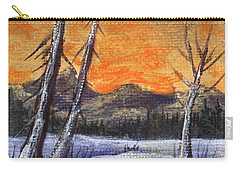 Carry-all Pouch featuring the painting Winter Solitude #1 by Anastasiya Malakhova