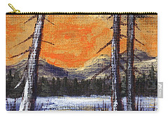 Carry-all Pouch featuring the painting Winter Solitude #2 by Anastasiya Malakhova