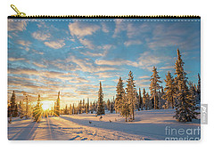 Carry-all Pouch featuring the photograph Winter Sunset by Delphimages Photo Creations
