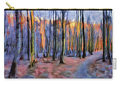 Winter Sunset In The Beech Wood Carry-all Pouch by Menega Sabidussi
