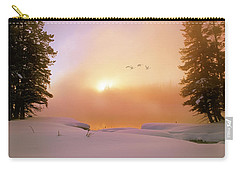 Carry-all Pouch featuring the photograph Winter Swans by Leland D Howard