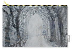 Carry-all Pouch featuring the painting Winter Tree Tunnel by Robin Maria Pedrero