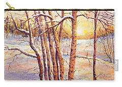 Winter Trees Sunrise Carry-all Pouch by Lou Ann Bagnall