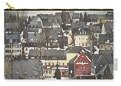Winter Village With Red House Carry-all Pouch