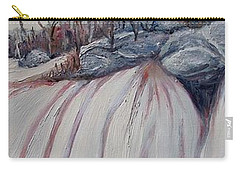 Carry-all Pouch featuring the painting Winter Waterfall by Marilyn  McNish