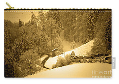 Carry-all Pouch featuring the photograph Winter Wonderland In Switzerland - Up The Hills by Susanne Van Hulst