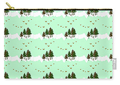 Carry-all Pouch featuring the mixed media Winter Woodlands Bird Pattern by Christina Rollo