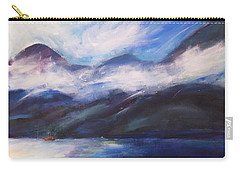 Carry-all Pouch featuring the painting Wispy Clouds by Yulia Kazansky