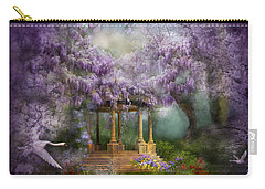 Carry-all Pouch featuring the mixed media Wisteria Lake by Carol Cavalaris
