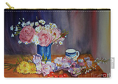 Carry-all Pouch featuring the painting With A Splash Of Blue by Beatrice Cloake