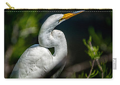 Carry-all Pouch featuring the photograph White Egret 2 by Christopher Holmes