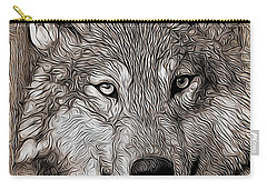 Carry-all Pouch featuring the digital art Wolf  by Aaron Berg