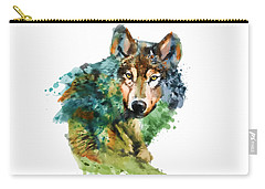 Wolf Face Watercolor Carry-all Pouch by Marian Voicu
