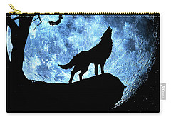 Wolf Howling At Full Moon With Bats Carry-all Pouch by Justin Kelefas