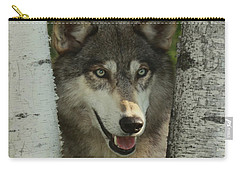 Wolf In The Birch Trees Carry-all Pouch by Myrna Bradshaw