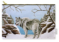 Carry-all Pouch featuring the painting Wolf In Winter by Teresa Wing