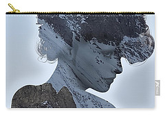 Woman And A Snowy Mountain Carry-all Pouch