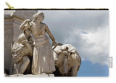 Carry-all Pouch featuring the photograph Woman And Bull, Marquis De Pombal Monument by Lorraine Devon Wilke