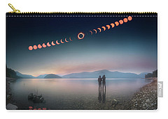 Woman And Girl Standing In Lake Watching Solar Eclipse Carry-all Pouch