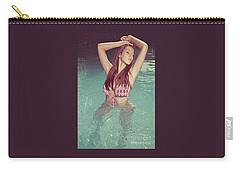 Woman In Bikini In The Water And Retro Look Image Finish Carry-all Pouch
