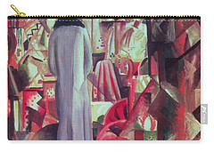 Woman In Front Of A Large Illuminated Window Carry-all Pouch by August Macke
