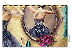 Woman In Mirror Carry-all Pouch by Jennifer Beaudet