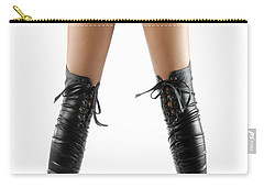 Woman Legs In Black Sexy Thigh High Stiletto Boots Carry-all Pouch