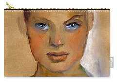 Woman Portrait Sketch Carry-all Pouch by Svetlana Novikova