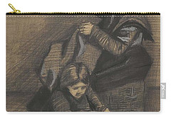 Carry-all Pouch featuring the painting Woman Sewing, With A Girl The Hague, March 1883 Vincent Van Gogh 1853 - 1890 by Artistic Panda