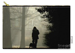 Carry-all Pouch featuring the photograph Woman Walking Dog by Patricia Hofmeester
