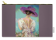 Woman Wearing A Purple Hat Carry-all Pouch
