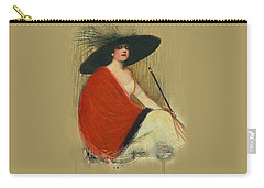 Woman Wearing Hat Carry-all Pouch