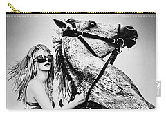 Woman With A White Horse Carry-all Pouch